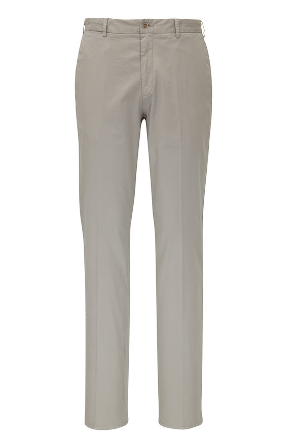 Peter Millar Gray Cotton & Silk Flat Front Pant