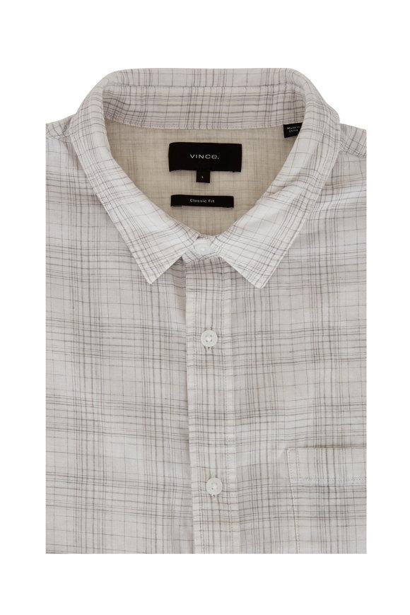 Vince White & Gray Plaid Classic Fit Sport Shirt