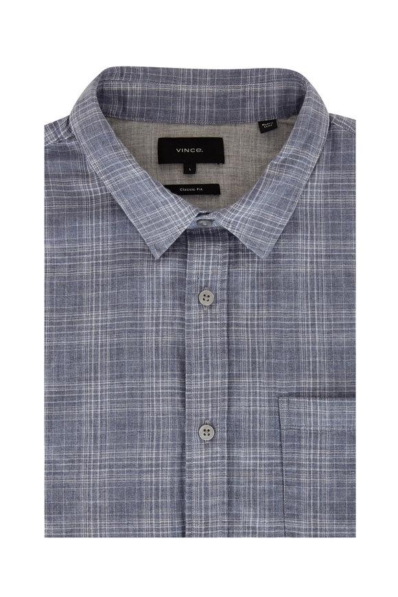 Vince Mineral Blue Plaid Classic Fit Sport Shirt