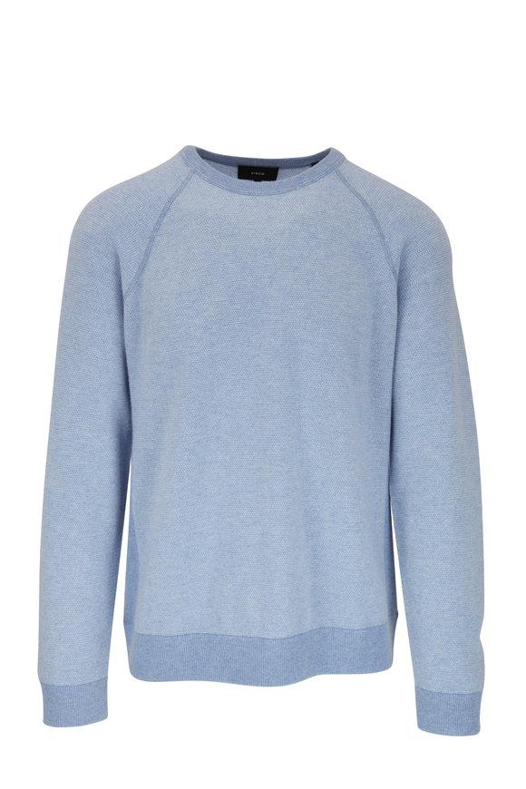 Vince Infinity Blue & Pearl Birdseye Crewneck Sweater