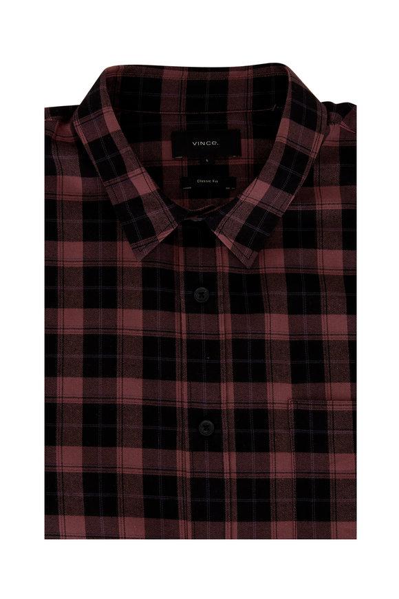 Vince Brick Plaid Classic Fit Sport Shirt