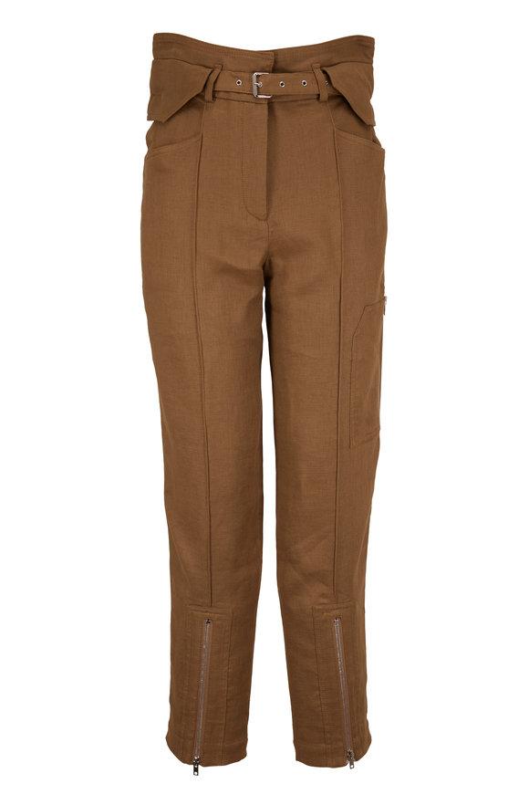 IRO Tria Olive Linen & Cotton Straight Leg Pant