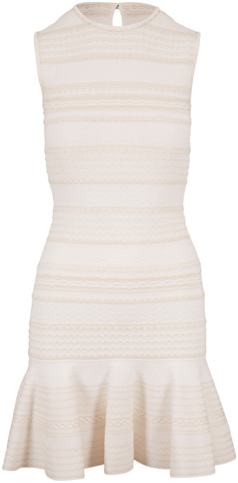 Alexander McQueen Ivory Jacquard Stripe Sleeveless Dress