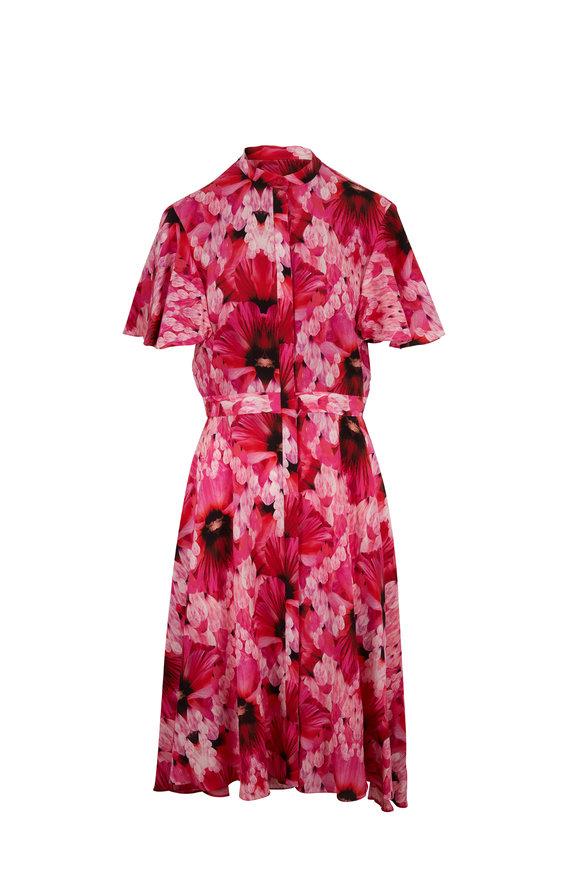 Alexander McQueen Orchid Pink Silk Floral Print Flutter Sleeve Dress
