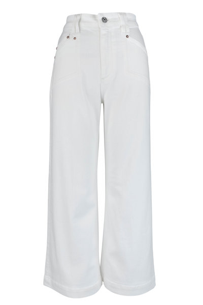 PAIGE - Anessa Light Ecru Wide Leg Ankle Jean