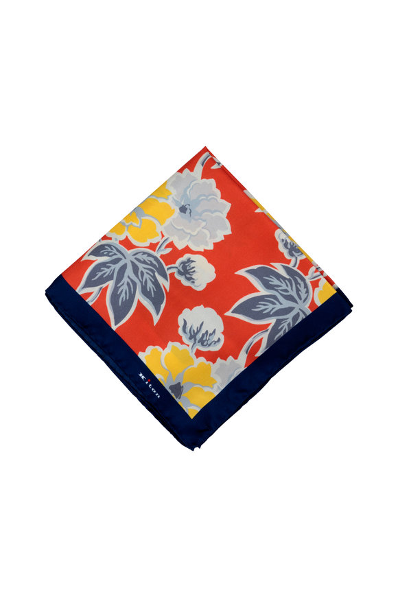 Kiton Upoche Red & Navy Blue Floral Silk Pocket Square