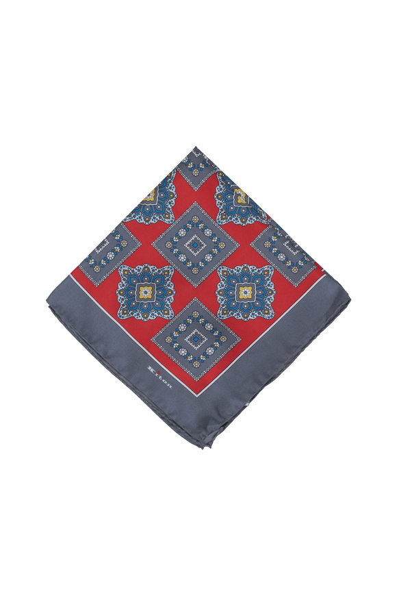Kiton Upoche Red & Gray Floral Silk Pocket Square