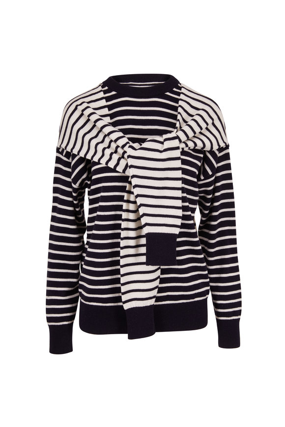 Michael Kors Collection Navy Blue Stripe Cashmere Double Sleeve Sweater