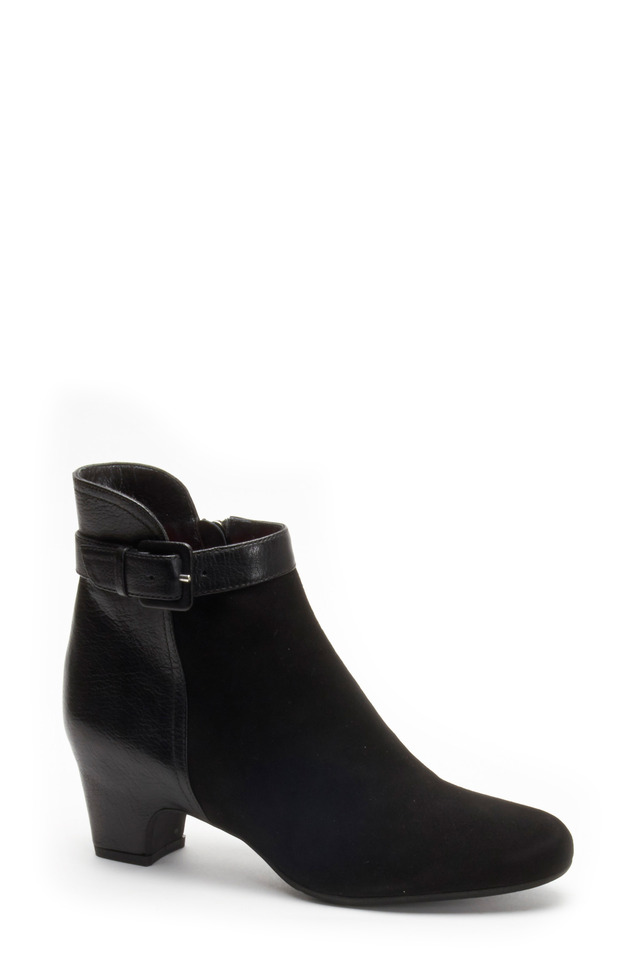 Lucia F622 Black Leather & Suede Ankle Boot, 50mm