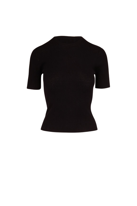 Michael Kors Collection Black Cashmere Fitted T-Shirt