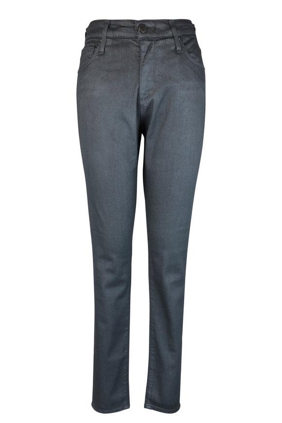 AG - Adriano Goldschmied Farrah Gark Gray Coated High-Rise Skinny Jean