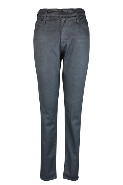 AG - Adriano Goldschmied - Farrah Gark Gray Coated High-Rise Skinny Jean