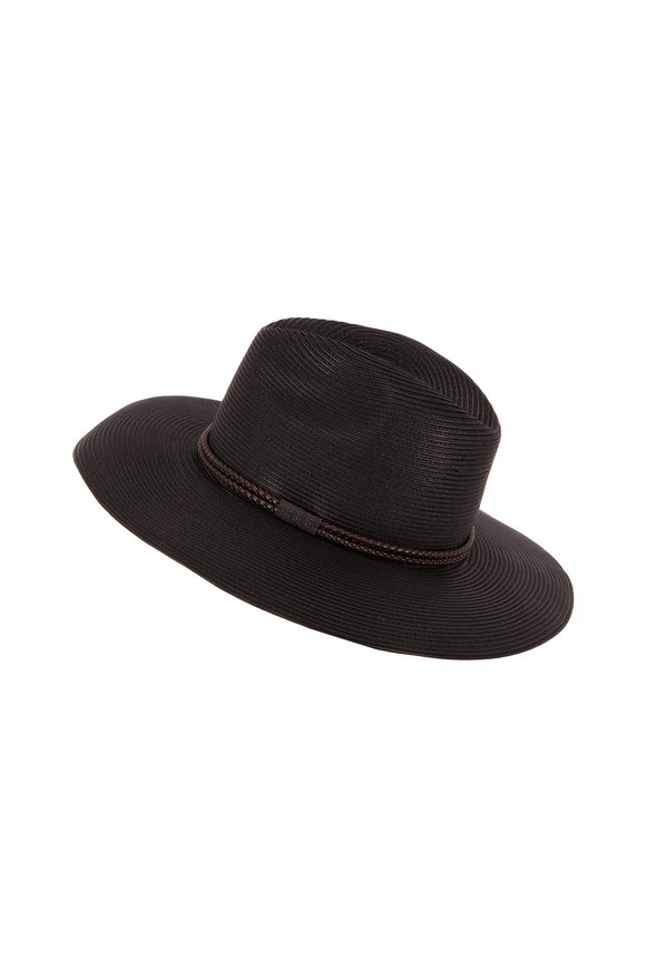 Brunello Cucinelli Black Fedora With Braided Leather & Monili Trim