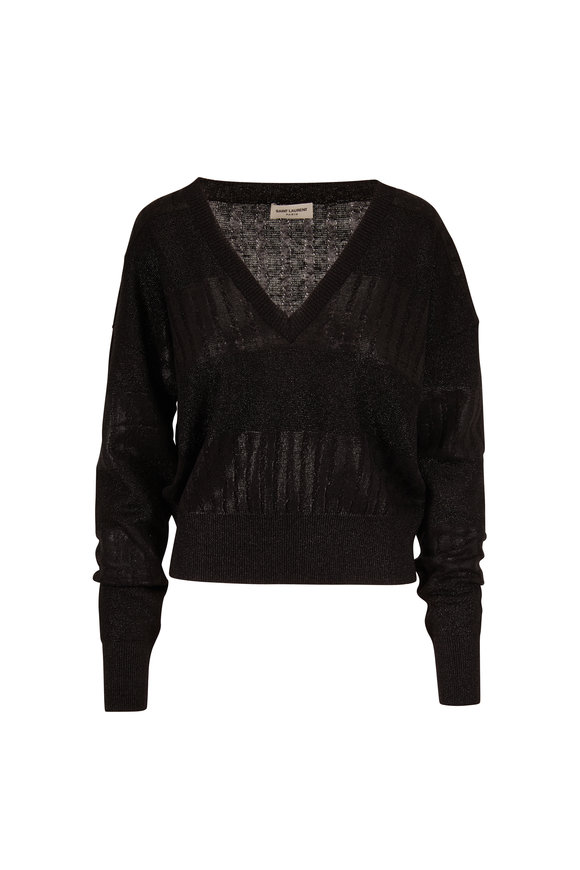 Saint Laurent Black Lamé Stripes V-Neck Sweater