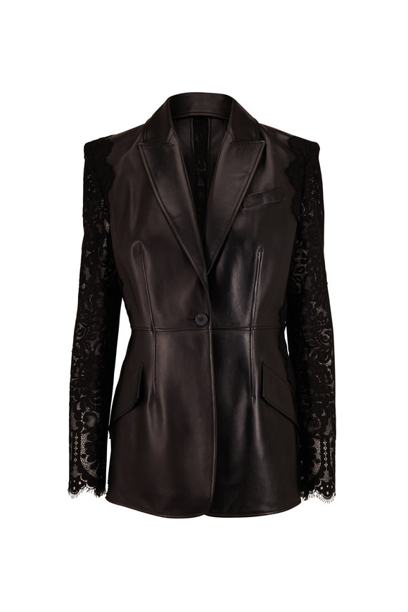 Alexander McQueen Black Leather Contrast Lace Sleeve Jacket
