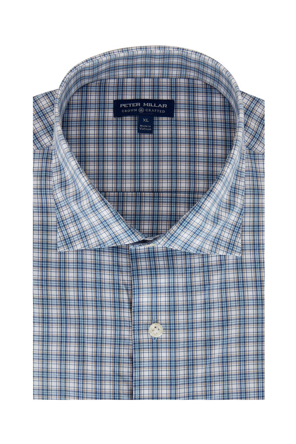 Peter Millar Blue & Tan Plaid Sport Shirt