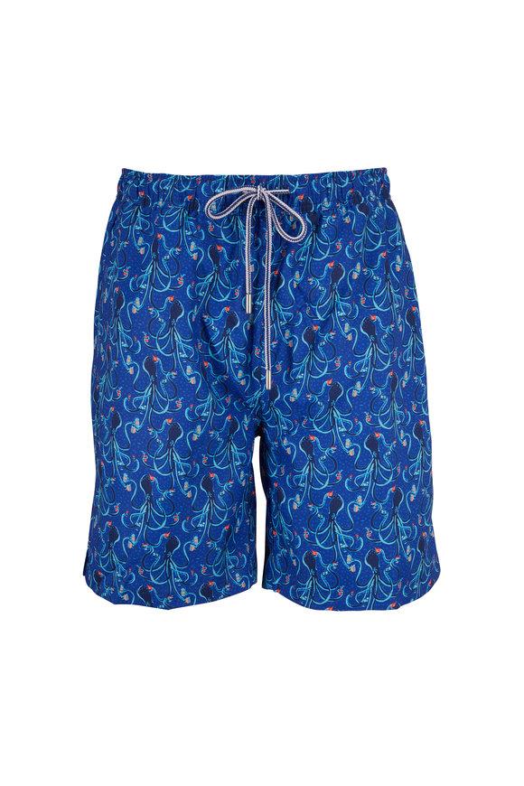 Peter Millar Seaside Blue Eight Deep Print Swim Trunks