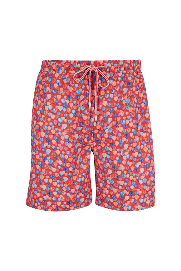 Peter Millar Seaside Red Hot Air Balloon Print Swim Trunks