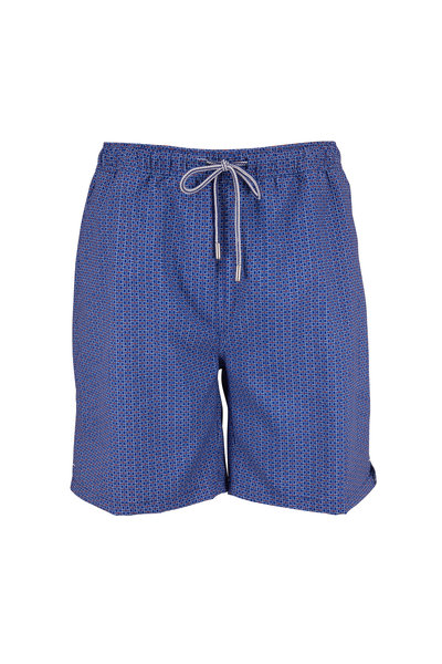 Peter Millar - Navy Low Tide Lattice Print Swim Trunks