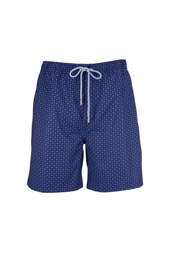 Peter Millar Seaside Atlantic Blue Seashell Print Swim Trunks