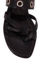Manolo Blahnik - Susa Black Leather Grommet Toe Ring Flat Sandal