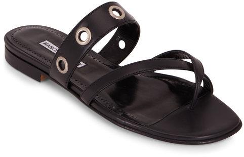 Manolo Blahnik Susa Black Leather Grommet Toe Ring Flat Sandal