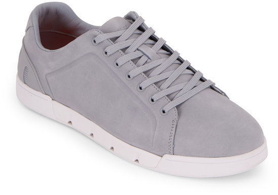 Swims Breeze Tennis Quarry & White Suede Sneaker