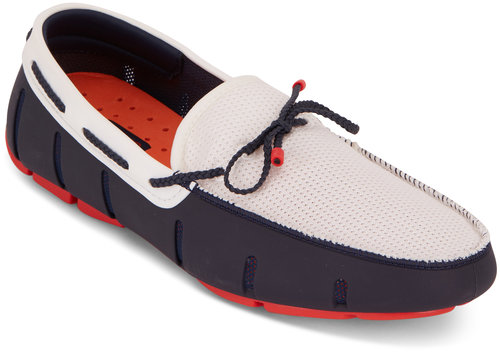 Swims Navy Blue & Red & White Braided Lace Loafer