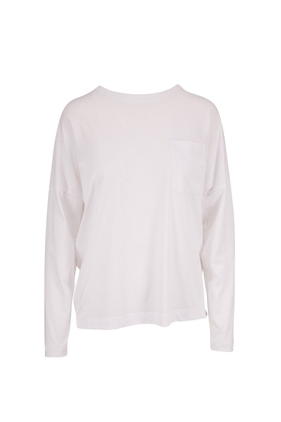 Adam Lippes White Jersey Long Sleeve Pocket T-Shirt
