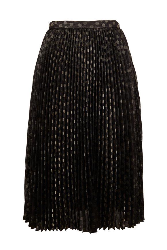 Akris Punto Black & Gold Dot Pleated Skirt