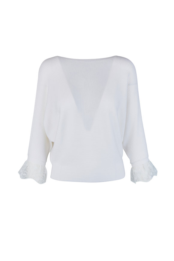 Chloé Iconic Milk Wool & Silk Lace Cuff Sweater