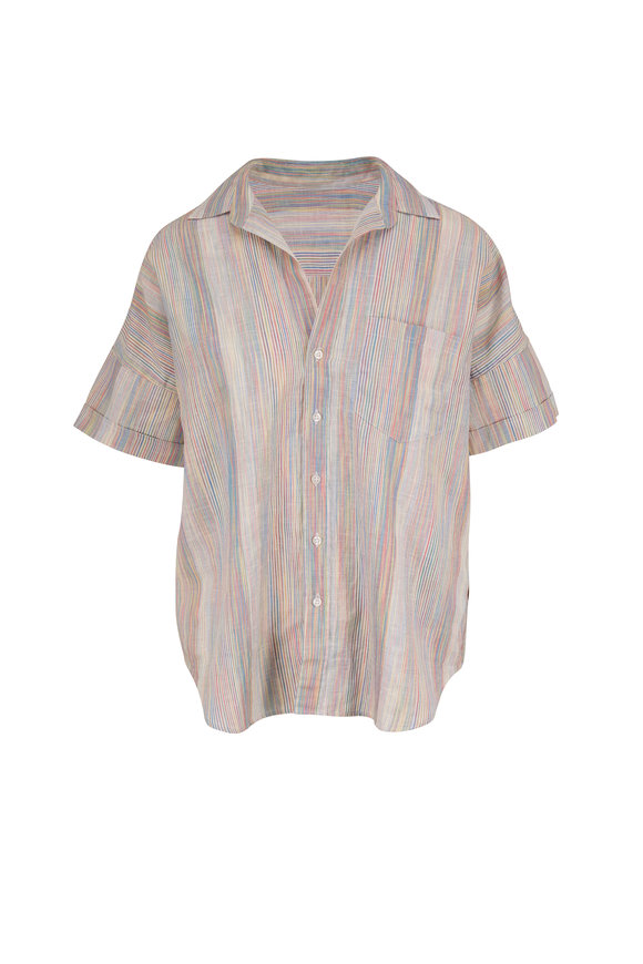 Frank & Eileen Rose Rainbow Stripe Short Sleeve Button Down