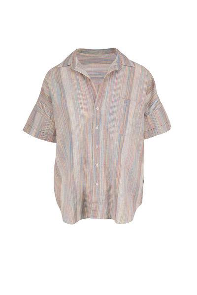 Frank & Eileen - Rose Rainbow Striped Short Sleeve Button Down