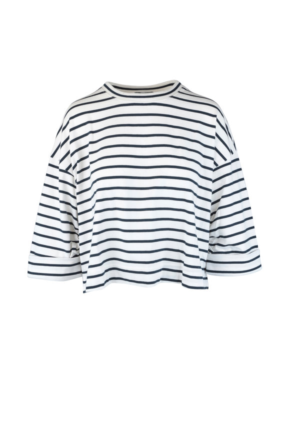 7 For All Mankind Navy Blue & White Striped Knit Top