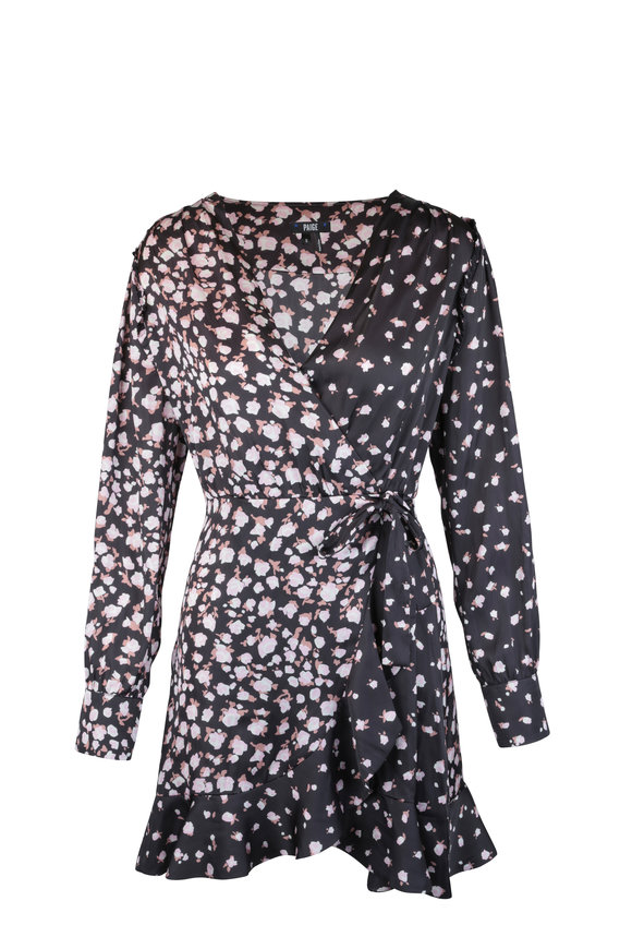 PAIGE Carrie Ann Black Floral Wrap Dress