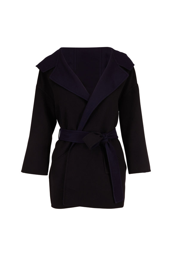 Herno Black & Navy Colorblock Belted Cardigan