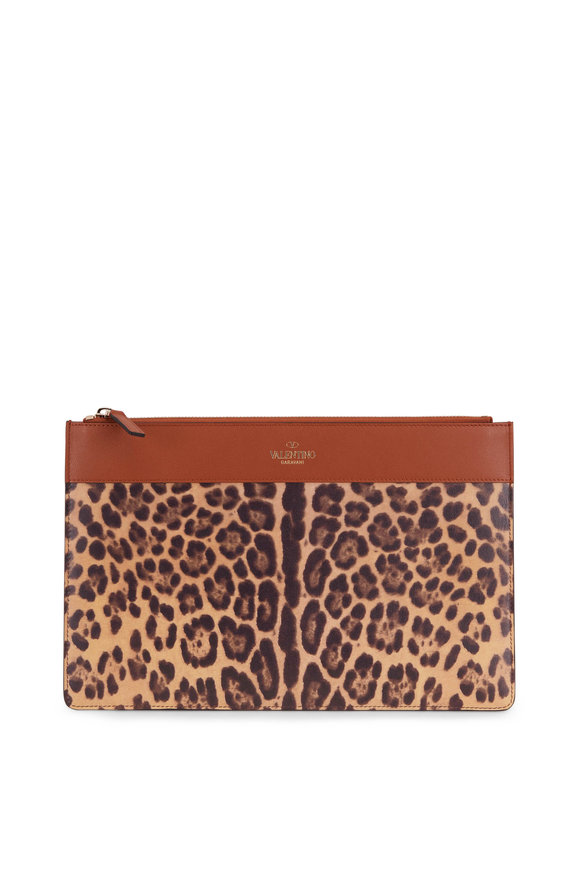 Valentino Garavani Leopard Print Leather Large Zip Pouch