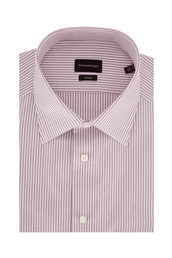 Ermenegildo Zegna Trofeo Purple Striped Dress Shirt