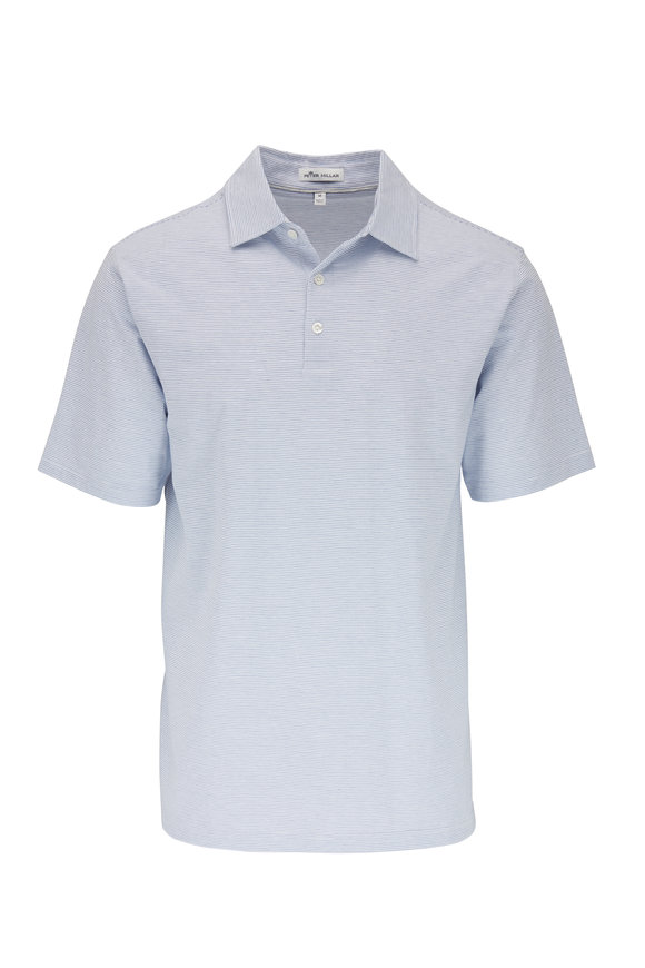 Peter Millar Newport White & Blue Striped Polo