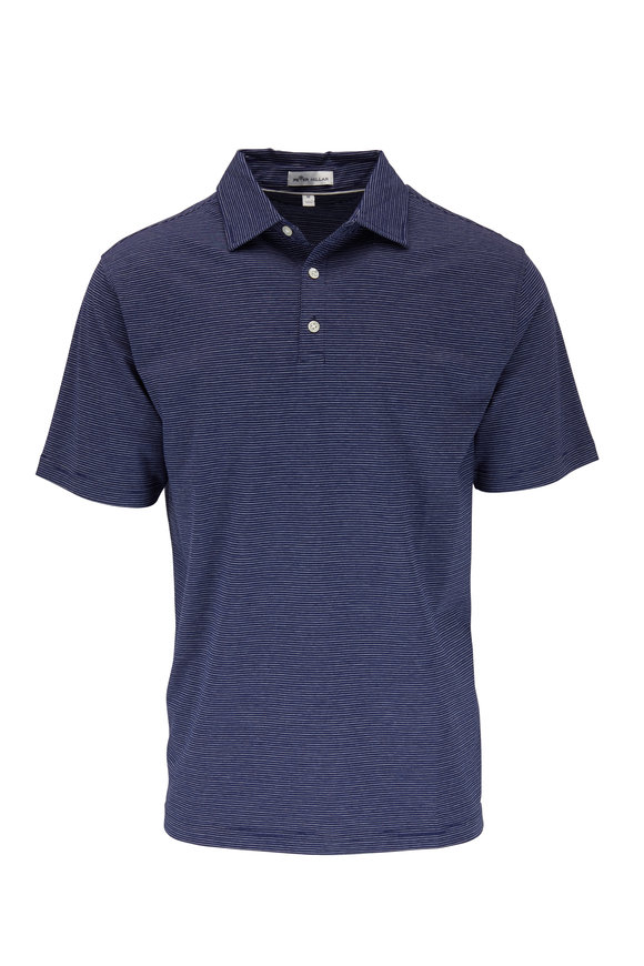 Peter Millar Newport Navy Blue Striped Polo