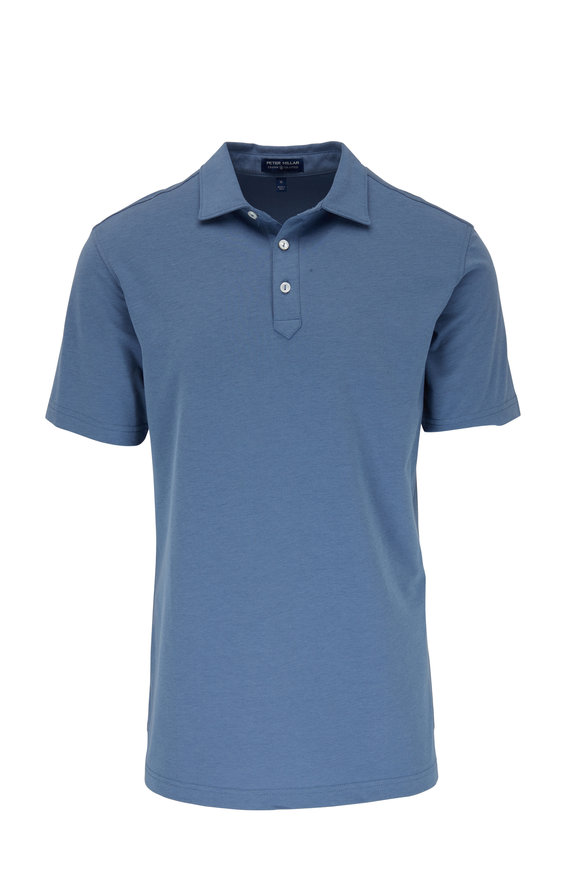 Peter Millar Ace Blue Piquè Performance Polo