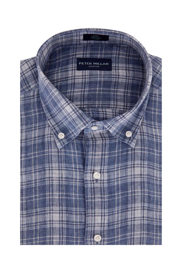 Peter Millar Avignon Navy Blue Linen Plaid Sport Shirt