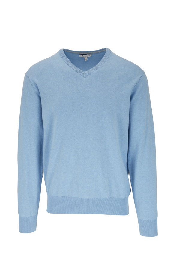 Peter Millar Cottage Blue Soft V-Neck Sweater