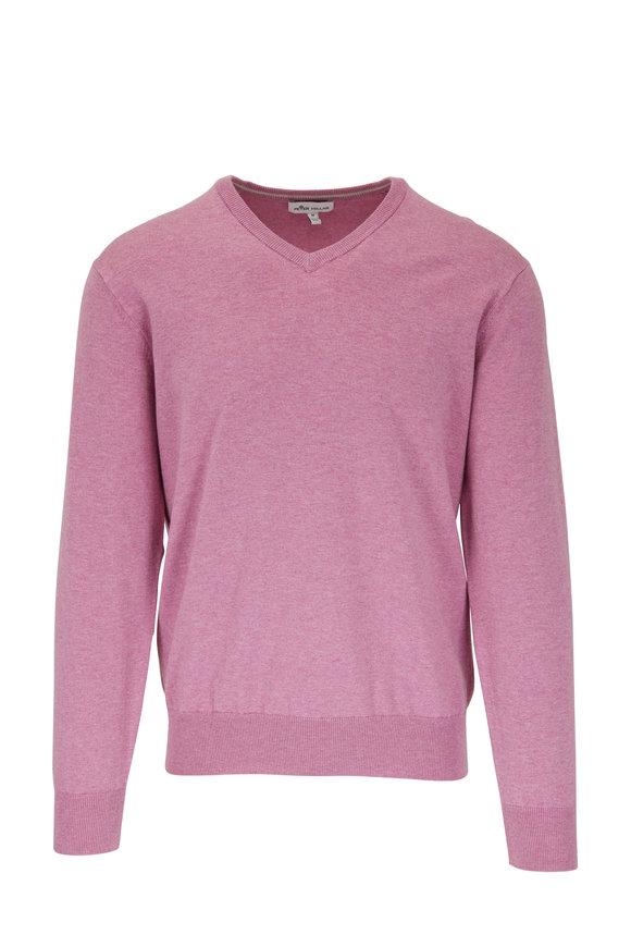 Peter Millar Lantana Purple Soft V-Neck Sweater