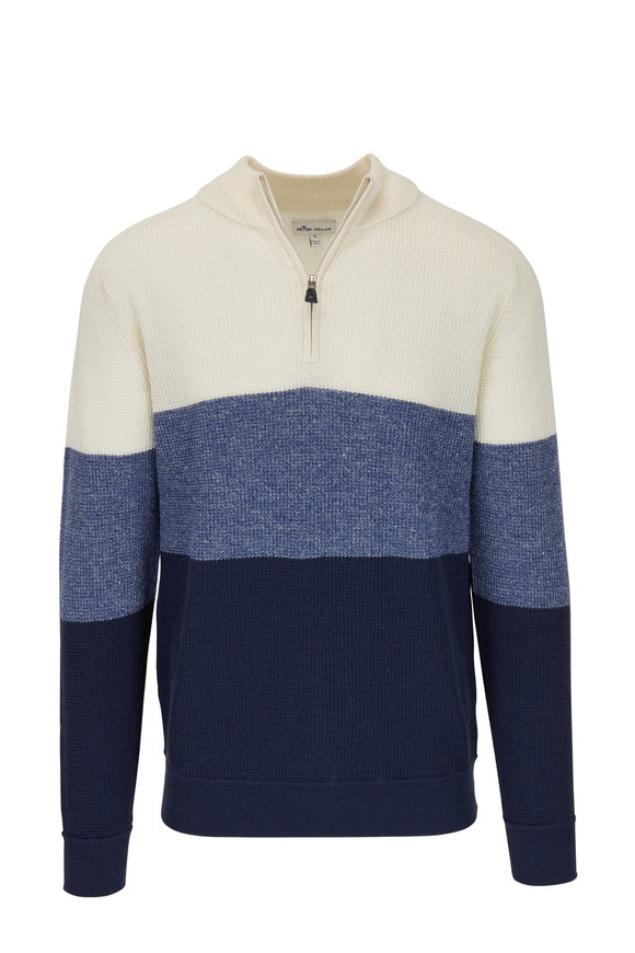 Peter Millar Navy & Cream Colorblock Quarter-Zip Sweater