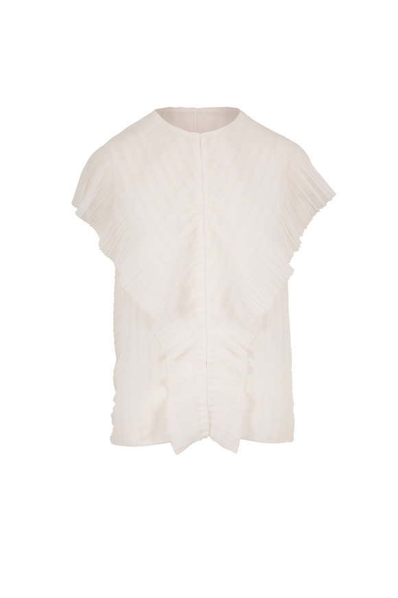 The Row Wiola Off White Ribbed Ruffle Top