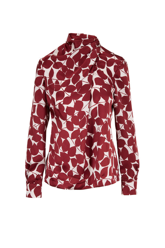 Gabriela Hearst Marcelina Foliage Print Silk High Neck Blouse