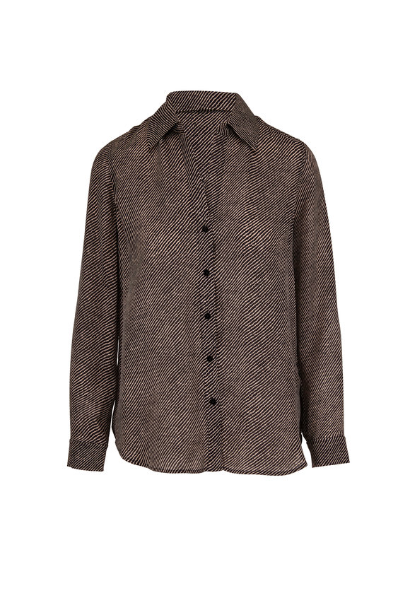L'Agence Nina Black & Ivory Striped Silk Blouse