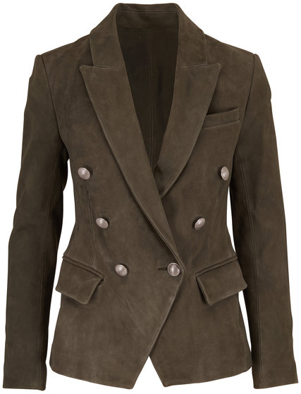 L'Agence Kenzie Beetle Green Suede Double-Breasted Blazer