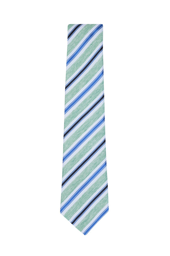 Kiton Green, White & Black Striped Silk Blend Necktie